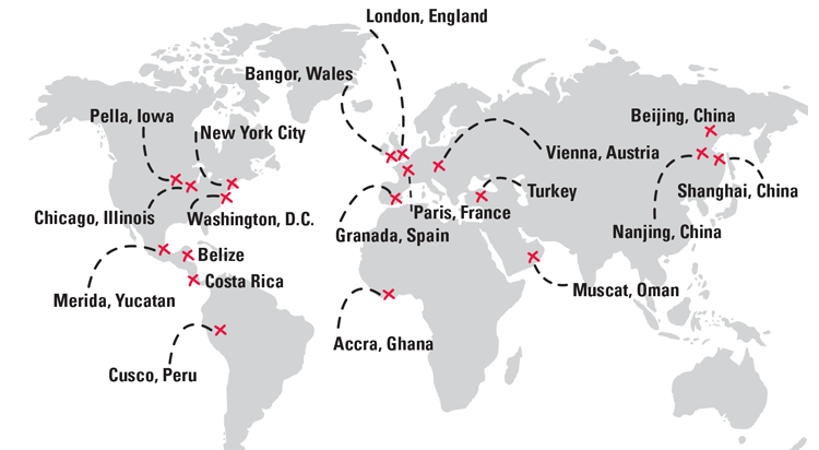 Study Abroad at Central College map