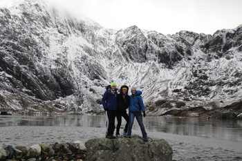 Central students on an outdoor excursion while studying abroad in Bangor, Wales.