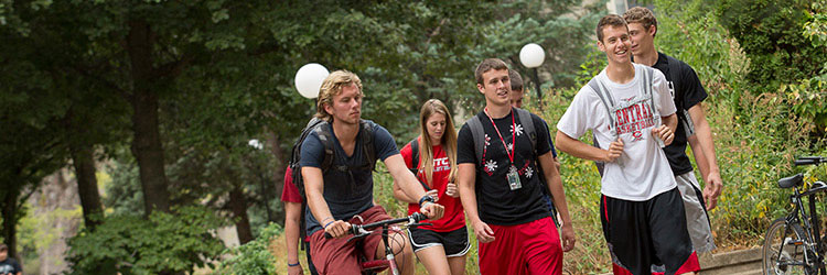Central College students on campus.